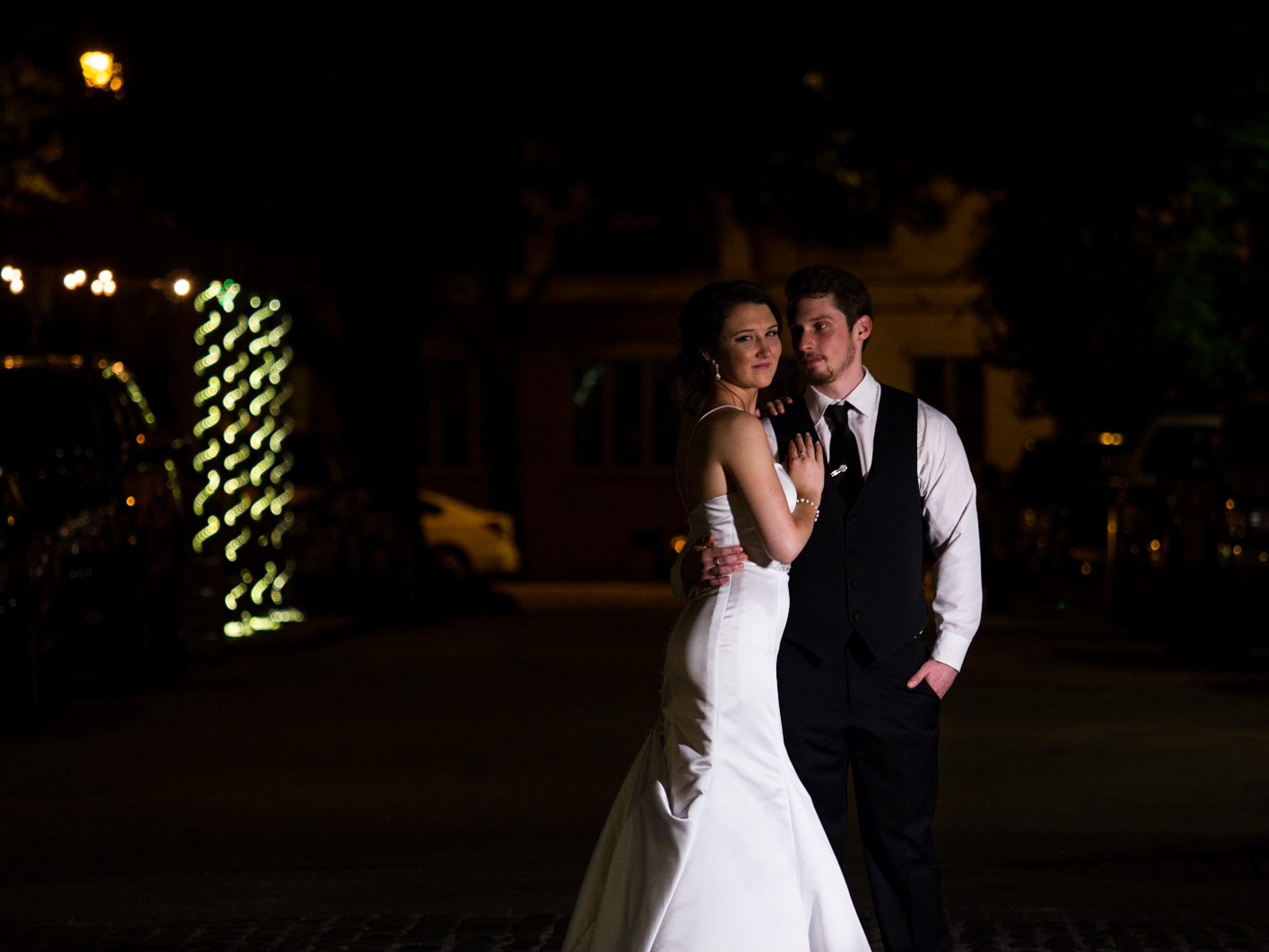 214 Martin Street, Wedding Photography, Raleigh, NC, Bride and Groom, Night Portrait, Street