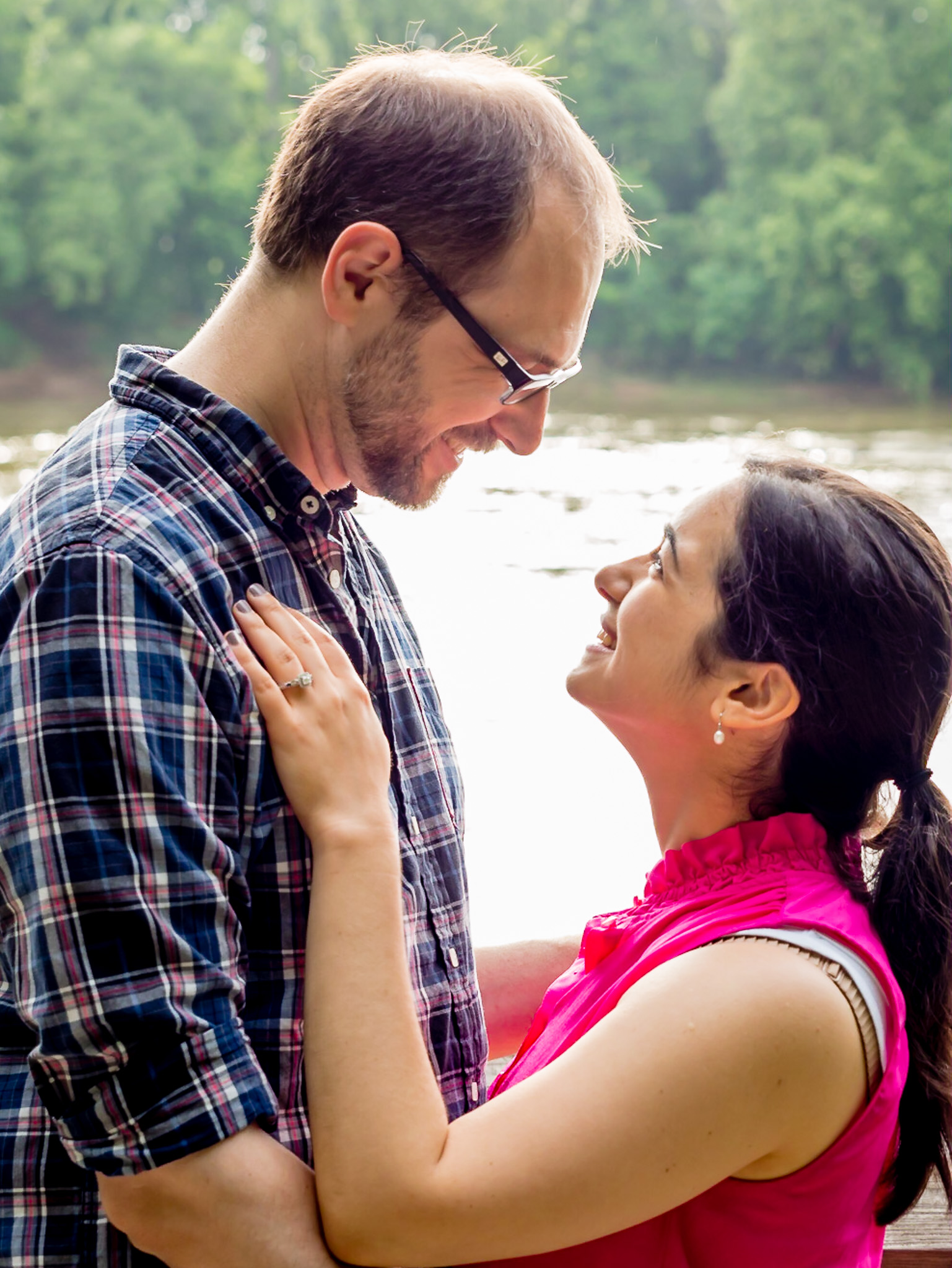 Engagement, Photography, Photographer, Columbia SC, Riverwalk, USC, College Campus, Couple, Engagement Ring, Ring
