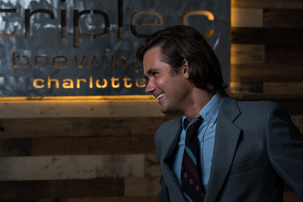 Groom portrait, part of a Boho Brewery Wedding Styled Shoot at Triple C Barrel Room in Charlotte NC.