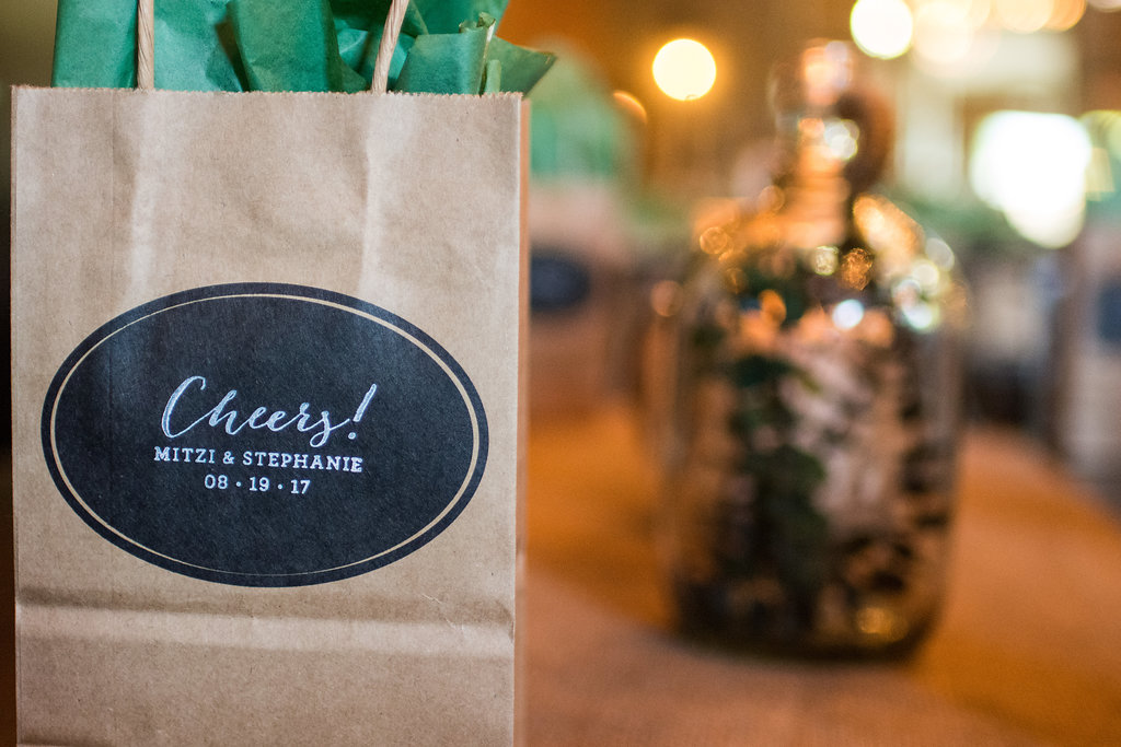Detail shot of Gift Bags for Sugar Creek Brewery Wedding in Charlotte, NC
