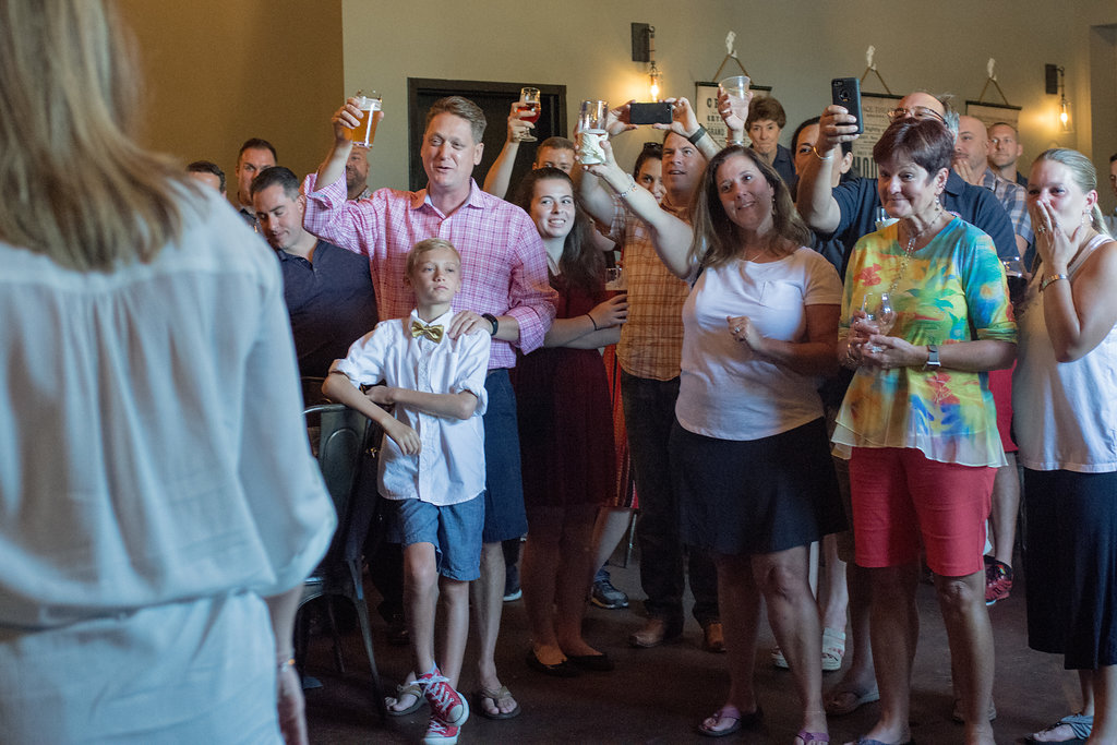 Casual ceremony and cheers at Sugar Creek Brewery Wedding in Charlotte, NC