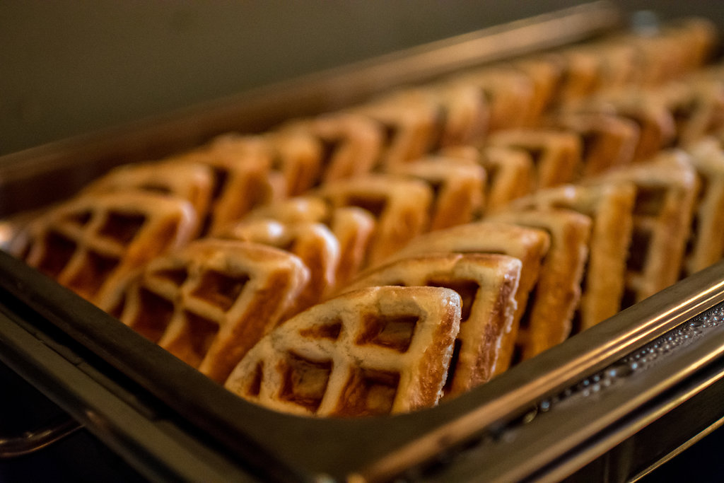 Waffles on the menu for this Sugar Creek Brewery Wedding in Charlotte, NC