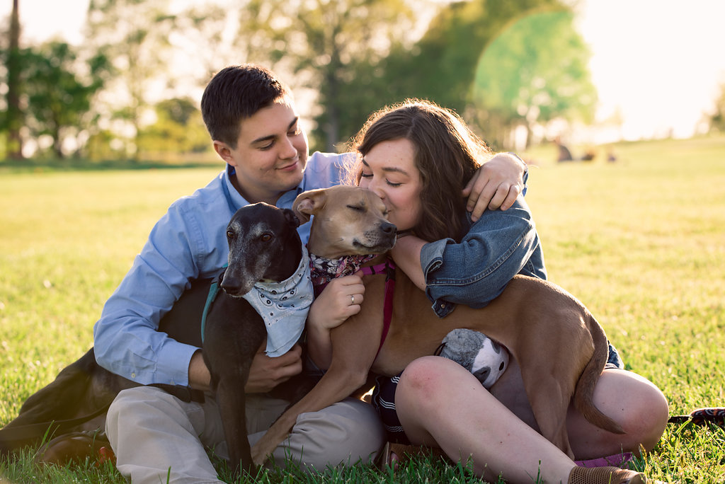 Raleigh North Carolina Museum of Art Engagement Session with Dogs from Charlotte Wedding Photographers
