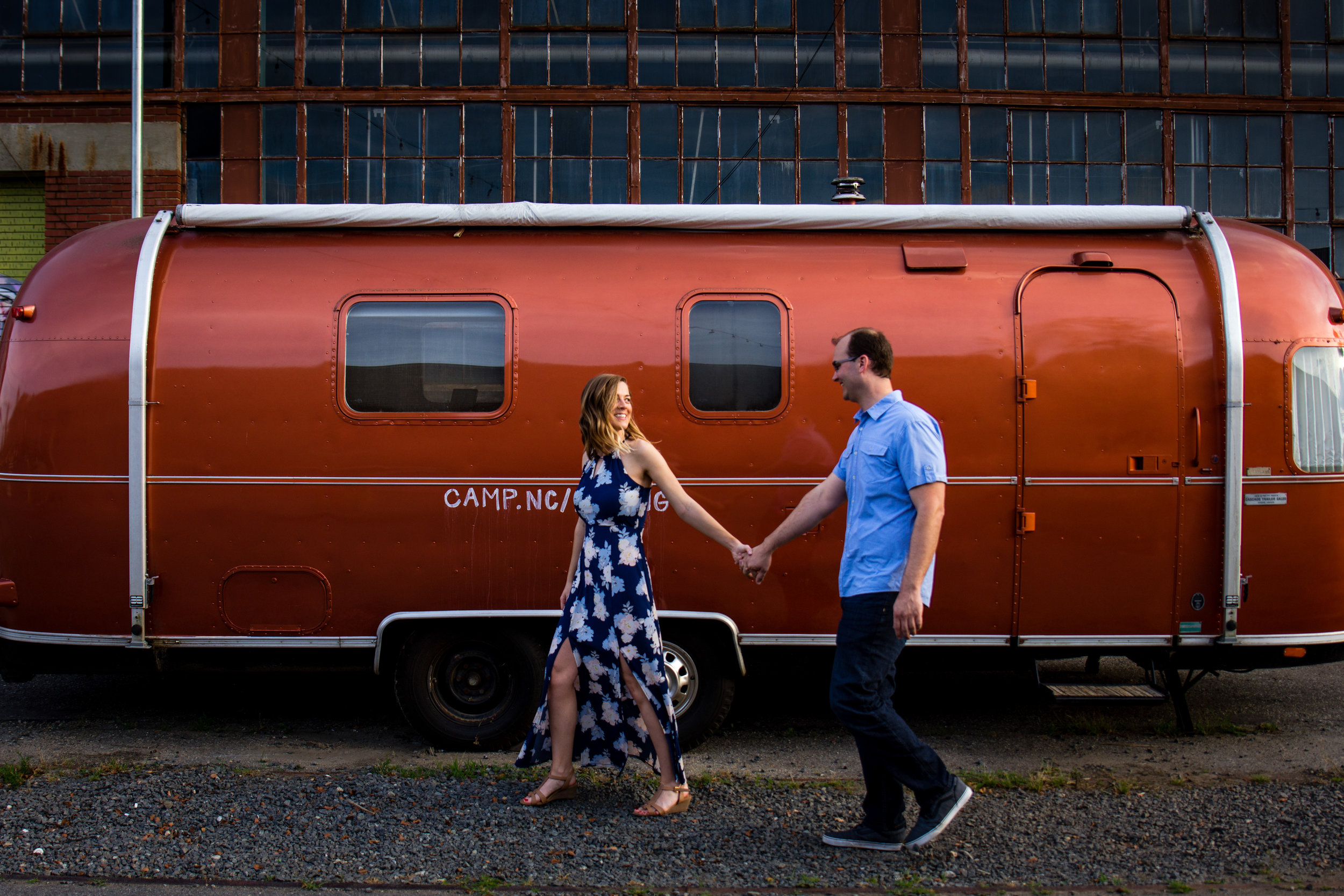 Camp North End Engagement Session with Airstream from Charlotte Wedding Photographer