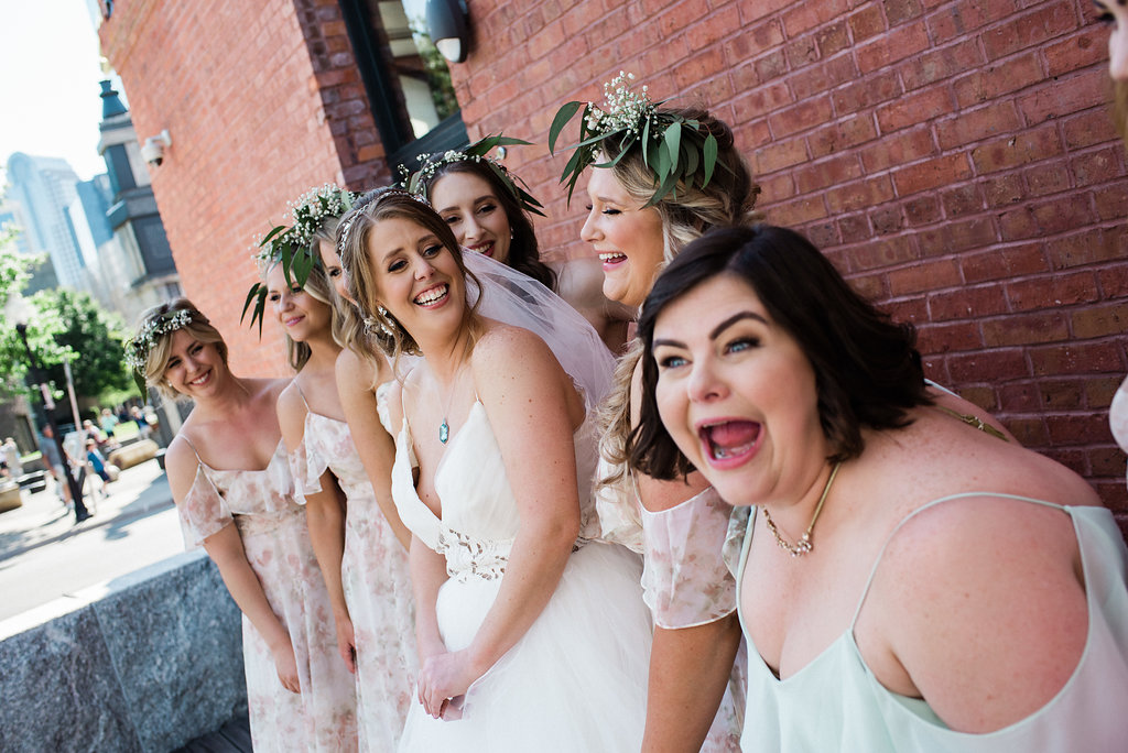 Uptown Google Fiber Building Bridesmaids Group Photo from from Charlotte Wedding Photographer