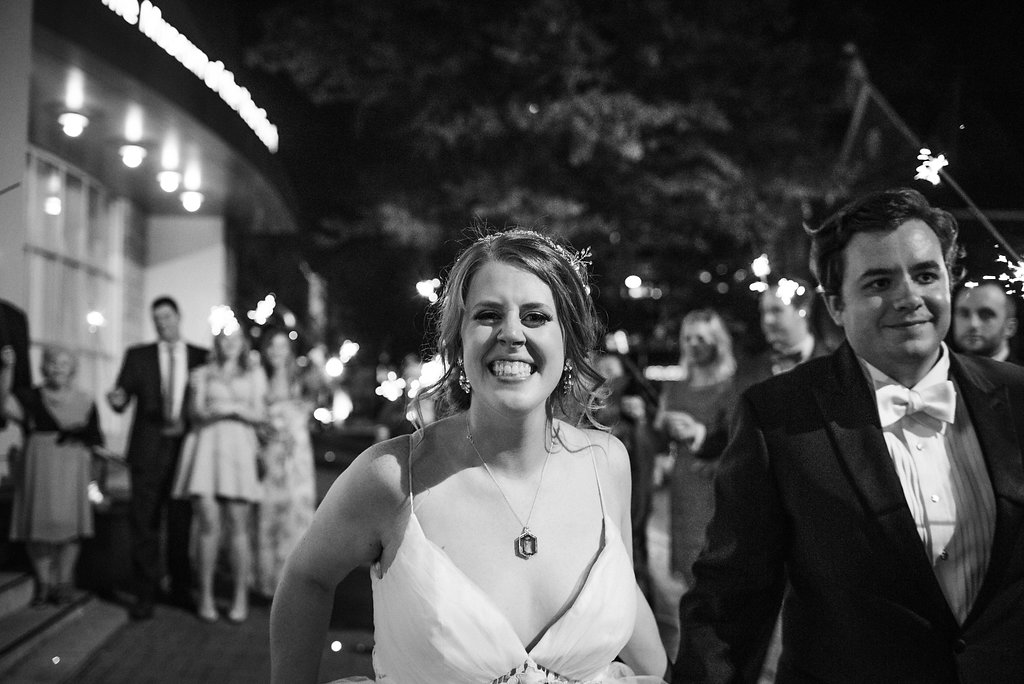 Sparkler Exit at Levine Museum of the New South from Charlotte Wedding Photographer