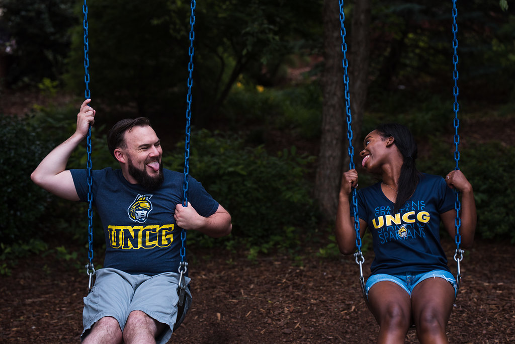 UNCG Greensboro Engagement Session from Charlotte Wedding Photographer