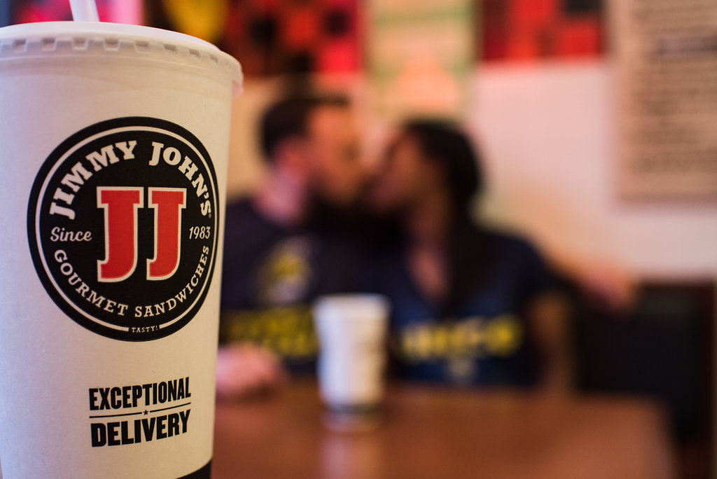 UNCG Greensboro Jimmy John's Engagement Session from Charlotte Wedding Photographer