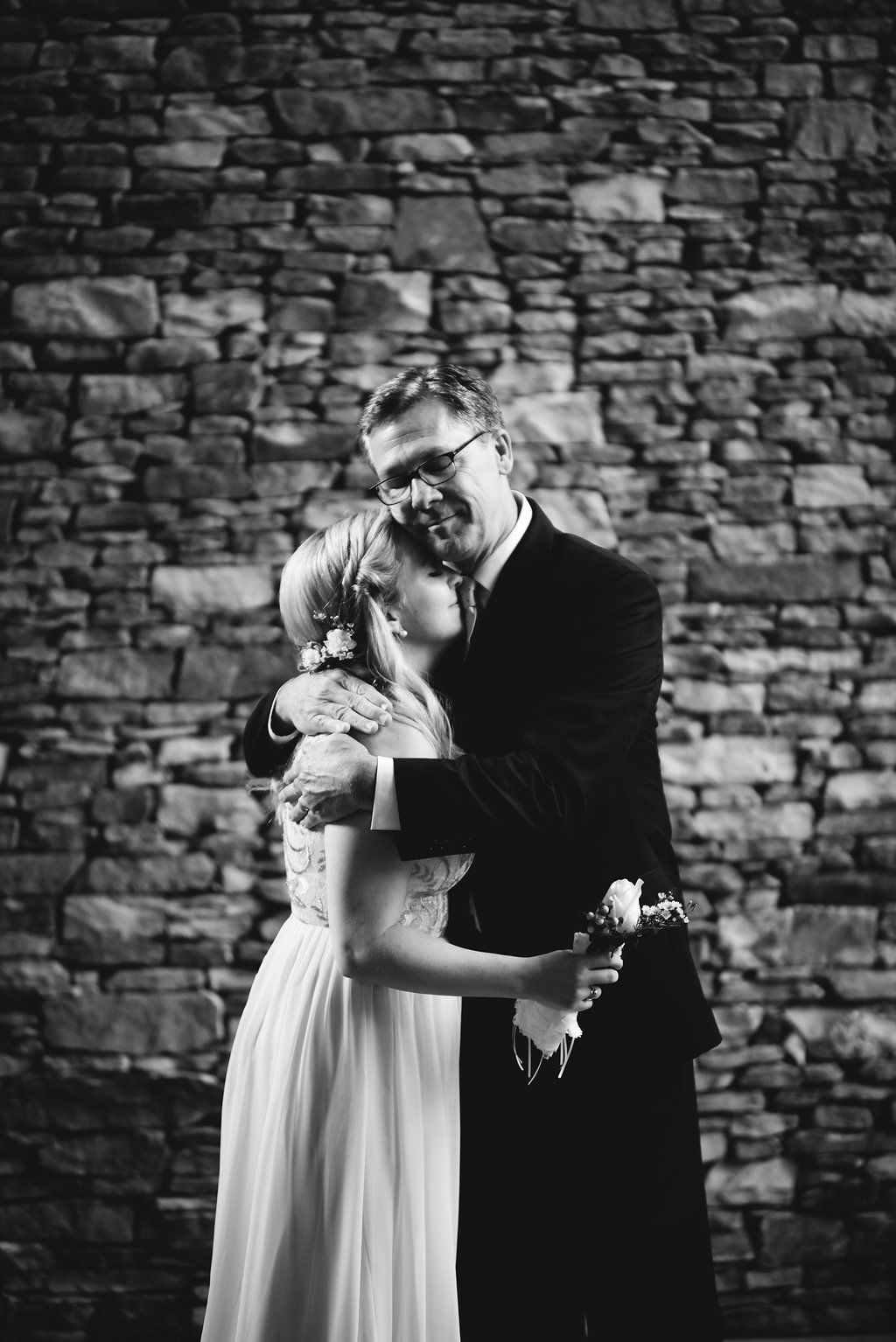 St. Patrick Episcopal Church Elopement Bride and Father in Mooresville, NC from Charlotte Wedding Photographer