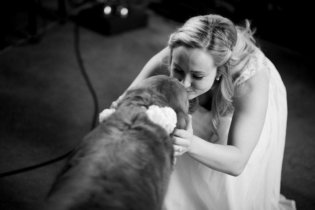 St. Patrick Episcopal Church Elopement Bride and Dog in Mooresville, NC from Charlotte Wedding Photographer