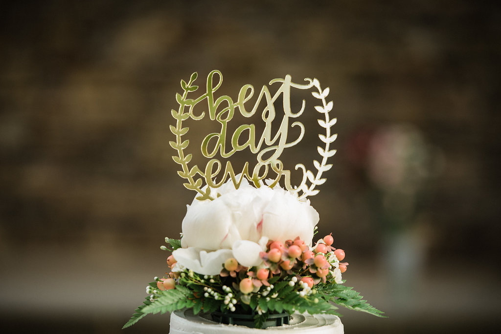 Cake Topper at St. Patrick Episcopal Church Elopement in Mooresville, NC from Charlotte Wedding Photographer