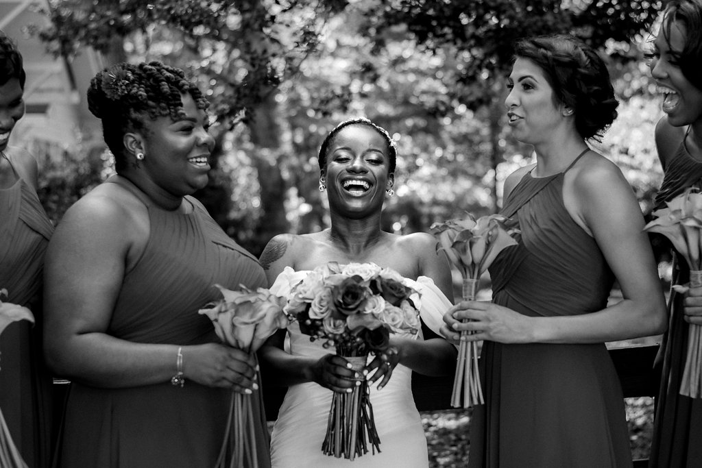 Bride and Bridesmaids at Summerfield Farms from Charlotte NC Wedding Photographer