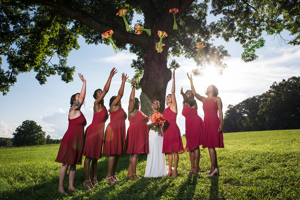 Bridal Party Photos at Summerfield Farms from Charlotte NC Wedding Photographer