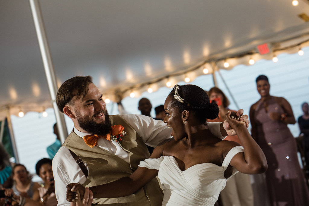 Bride and Groom Reception Dancing at Summerfield Farms from Charlotte NC Wedding Photographer