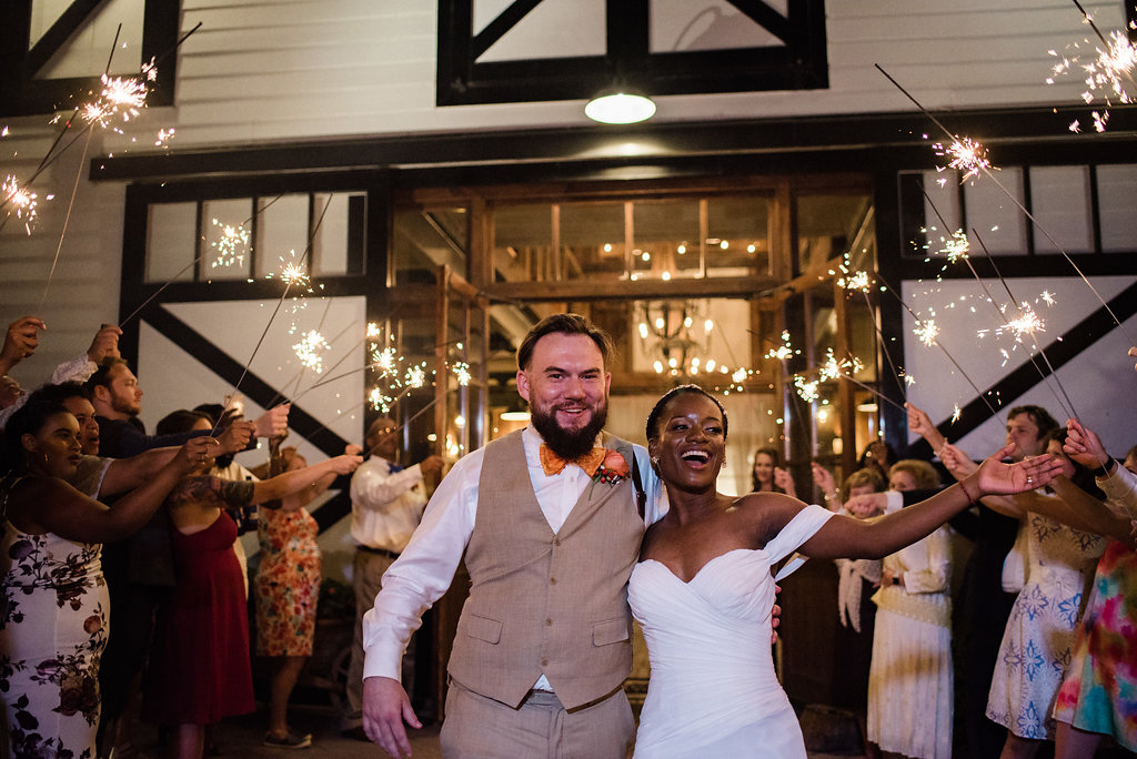 Sparkler Exit at Summerfield Farms from Charlotte NC Wedding Photographer