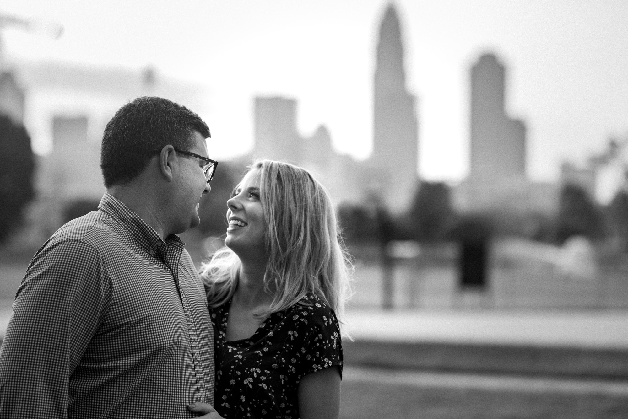 Independence Park Skyline Engagement Session by Charlotte Wedding Photographer