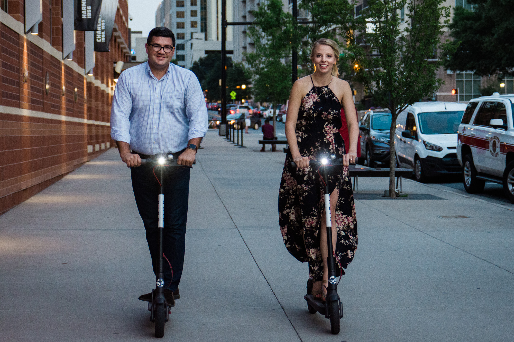 Uptown Engagement Session by Charlotte Wedding Photographer with Bird Scooters