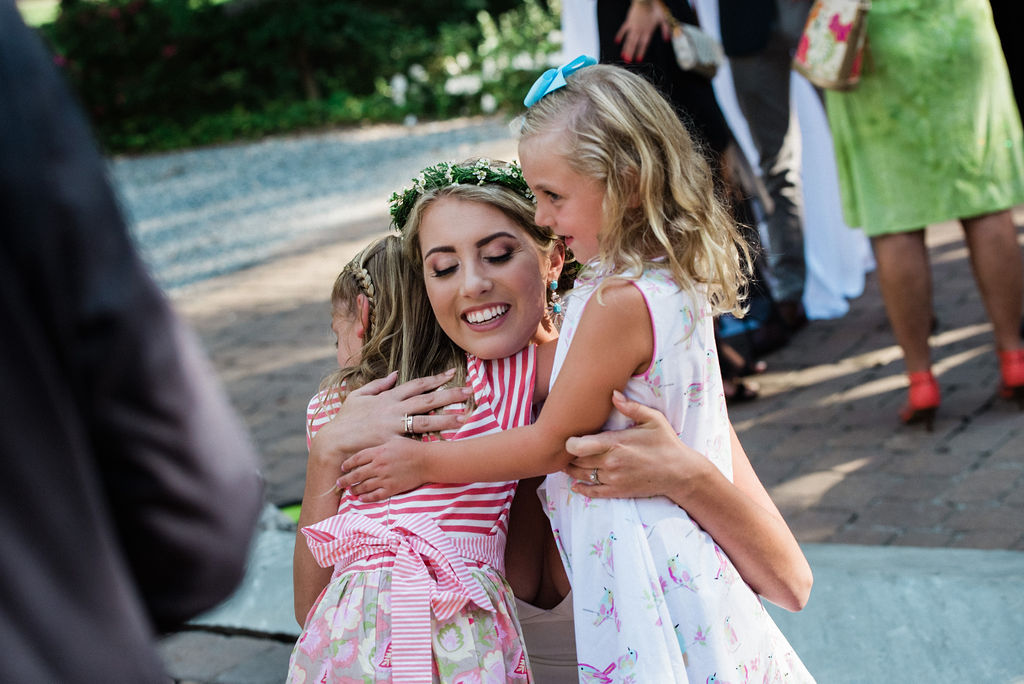 Bride and Children at Ritchie Hill Venue in Concord NC by Charlotte Wedding Photographers