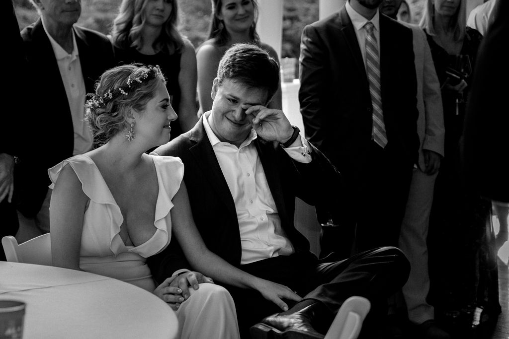 Bride and Groom Toast Reactions at Ritchie Hill Venue in Concord NC by Charlotte Wedding Photographers