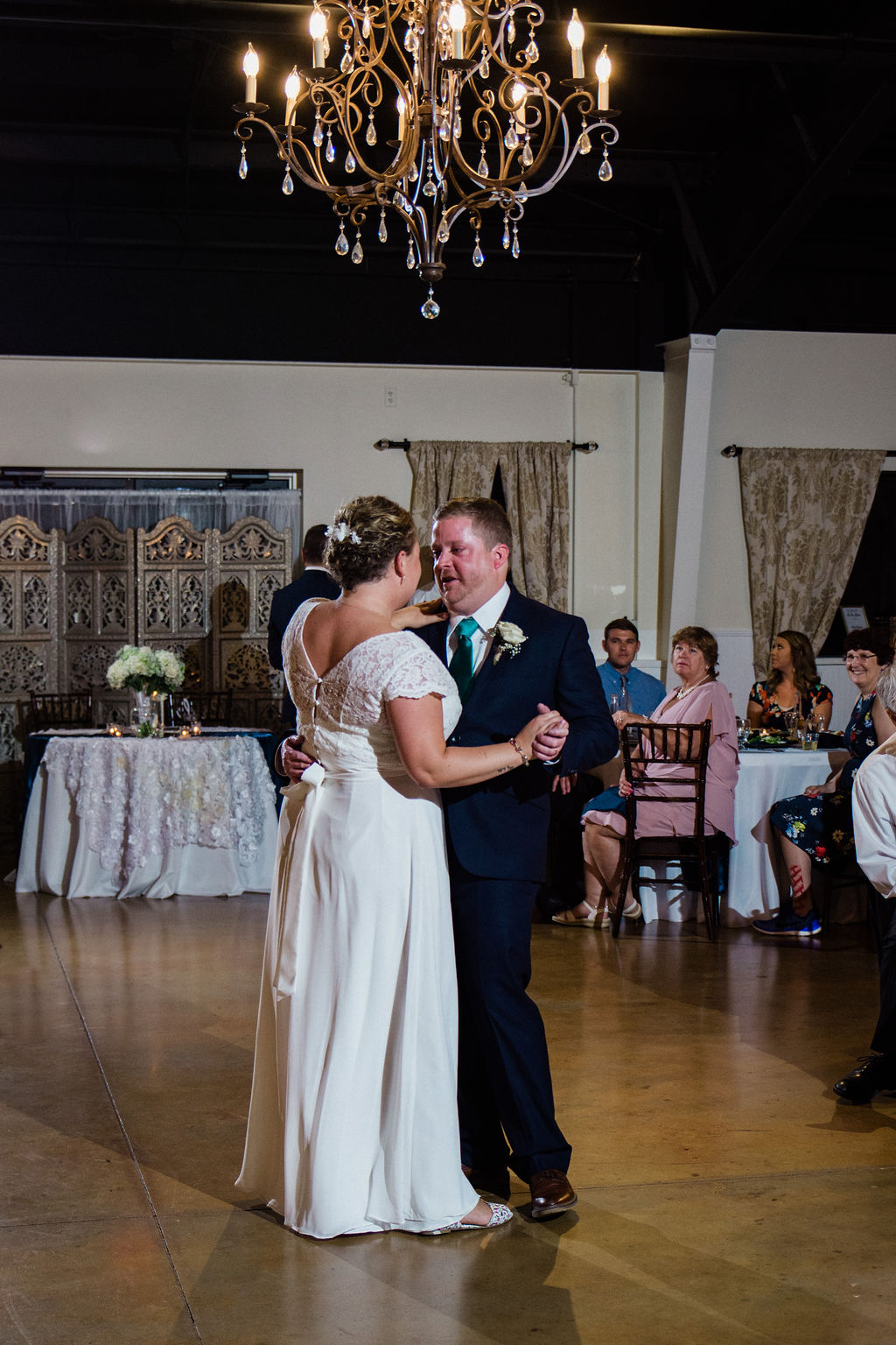 Bride and Groom First Dance at Magnolia Woods Huntersville by Charlotte Wedding Photographers