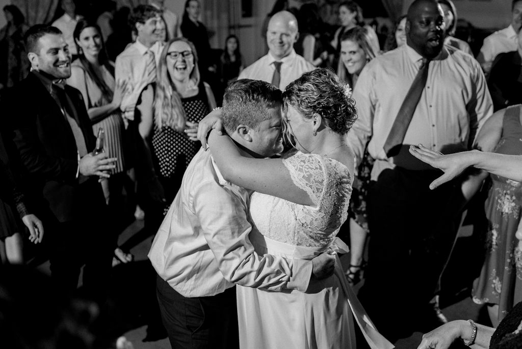 Bride and Groom Dancing at Reception at Magnolia Woods Huntersville by Charlotte Wedding Photographers