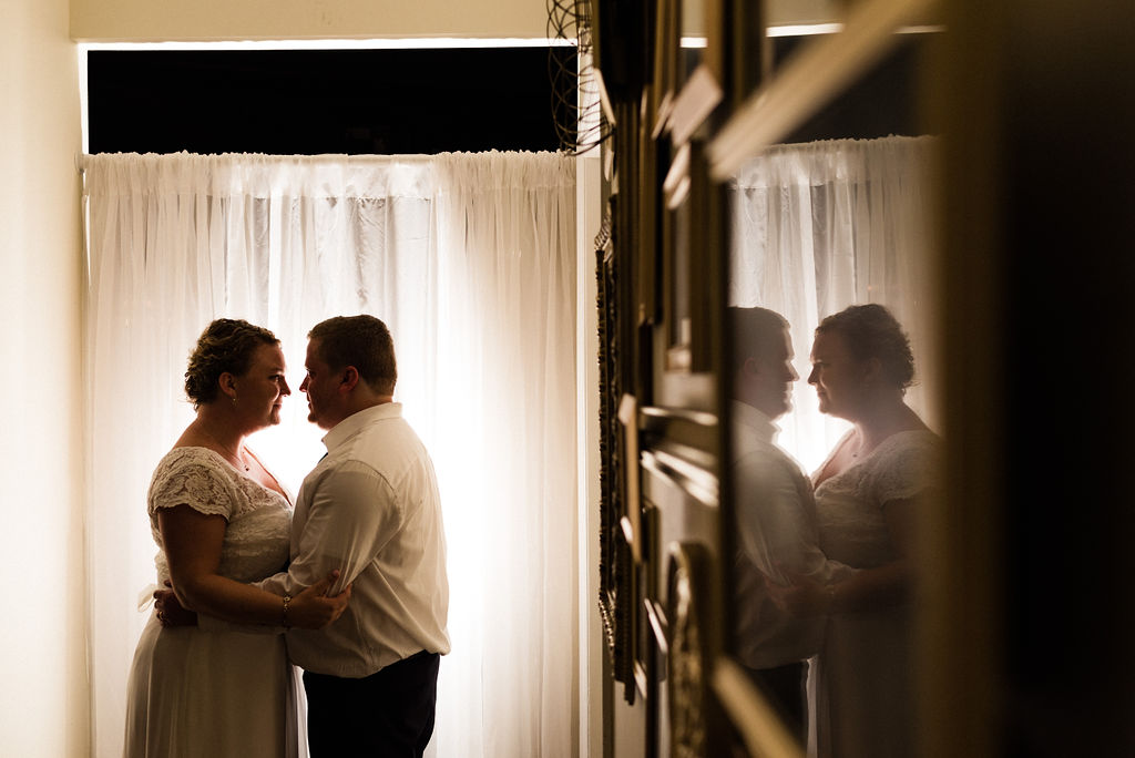 Bride and Groom Portrait at Reception at Magnolia Woods Huntersville by Charlotte Wedding Photographers