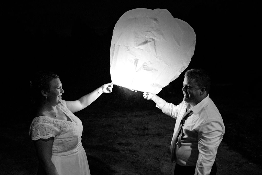 Bride and Groom Lantern Send Off at Magnolia Woods Huntersville by Charlotte Wedding Photographers