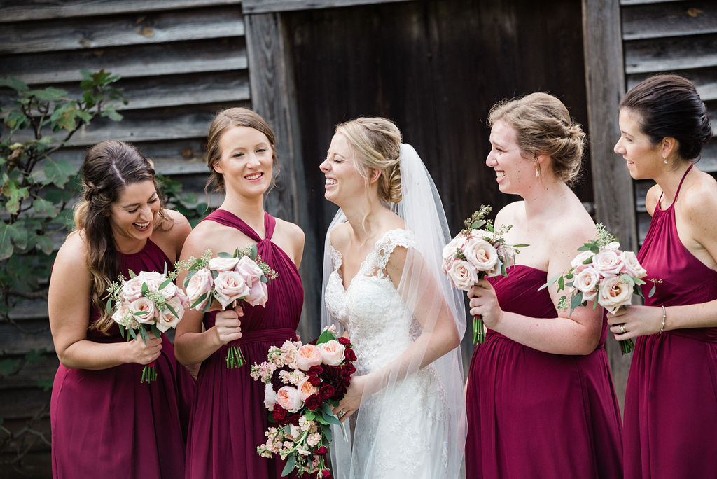 Bride and Bridesmaids at Historic Rural Hill by Charlotte Wedding Photographers