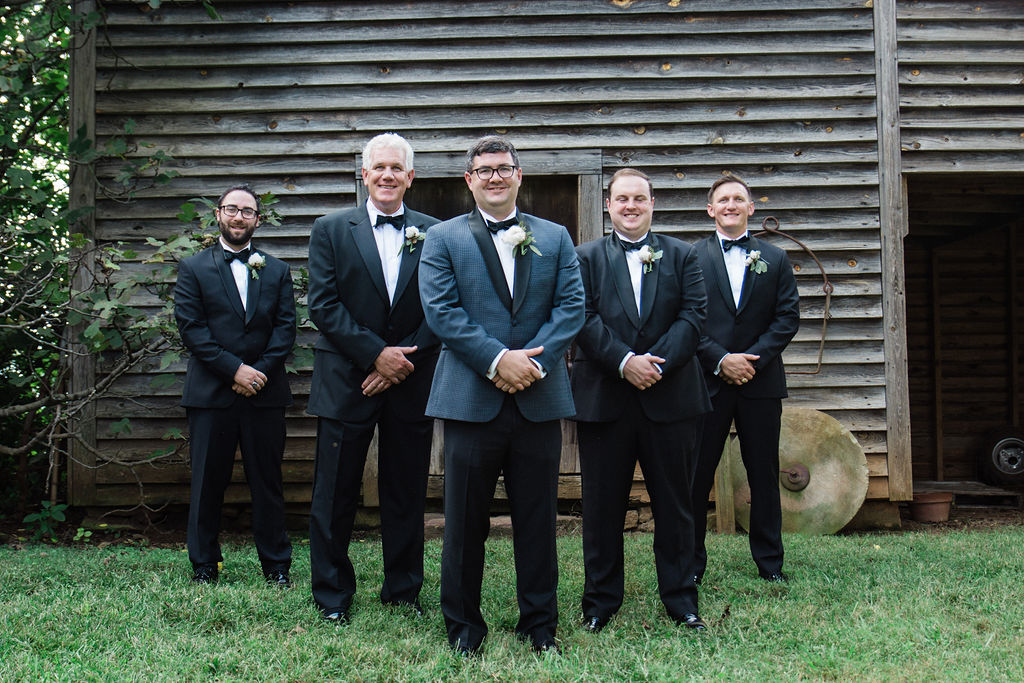 Groom and Groomsmen at Historic Rural Hill by Charlotte Wedding Photographers