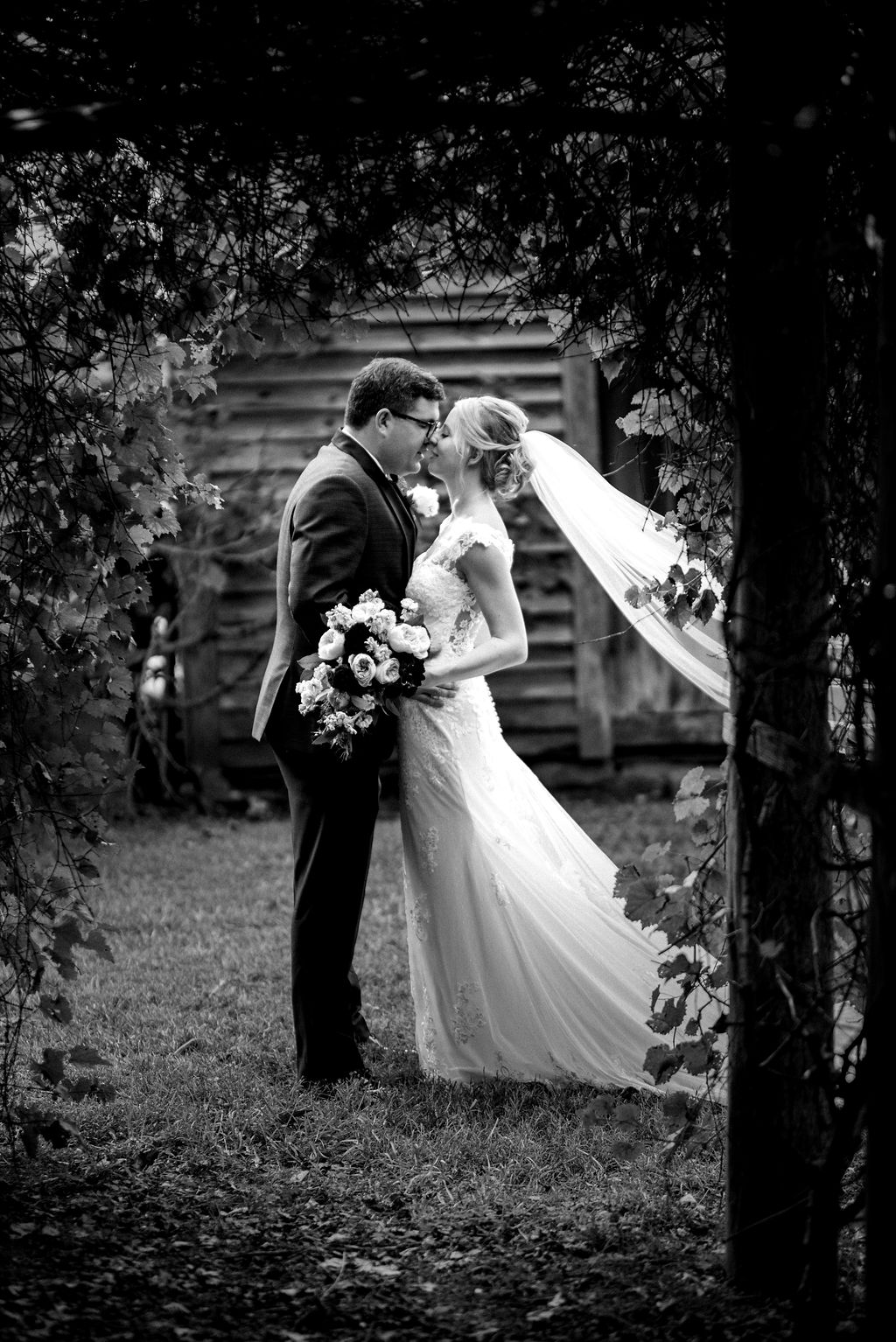 Bride and Groom at Historic Rural Hill by Charlotte Wedding Photographers