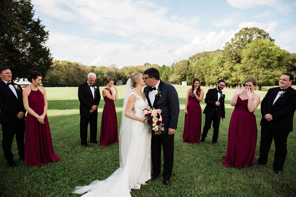 Bride and Groom with Wedding Party at Historic Rural Hill by Charlotte Wedding Photographers