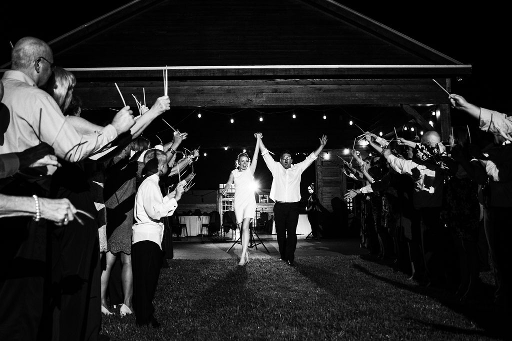 Glowstick Exit at Historic Rural Hill by Charlotte Wedding Photographers