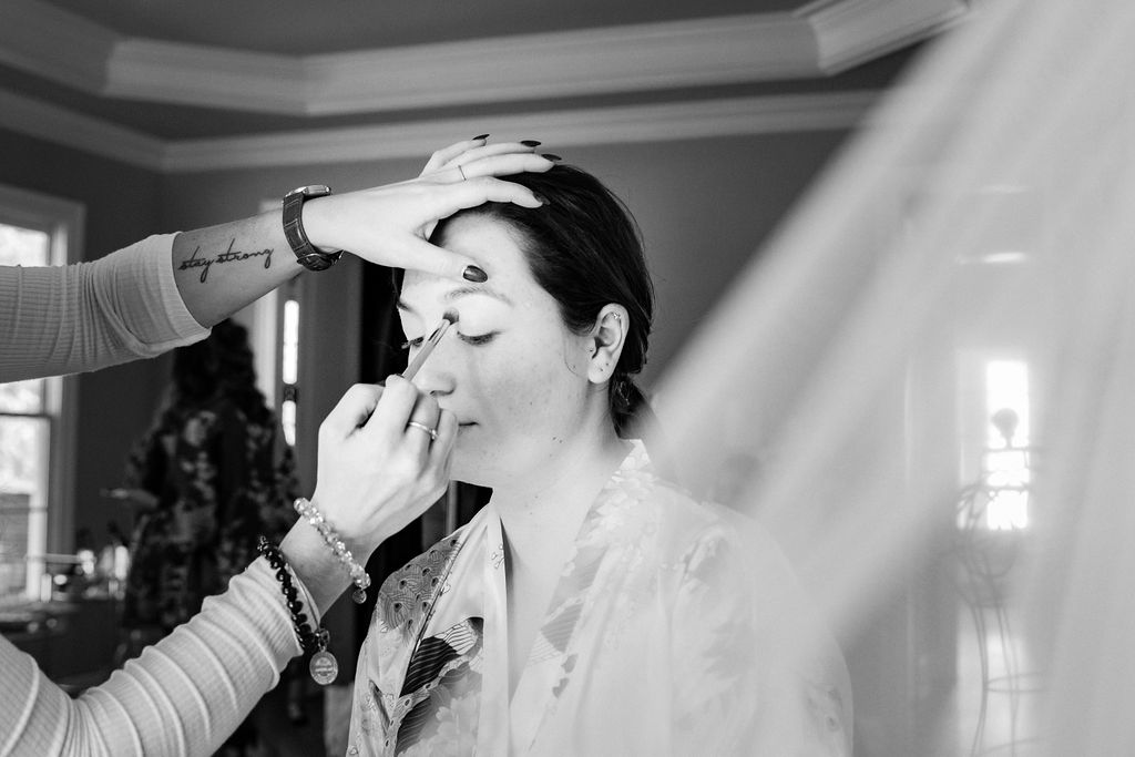 Getting Ready in Bridal Suite at The Oaks at Salem Wedding in Apex, NC by Charlotte Wedding Photographers