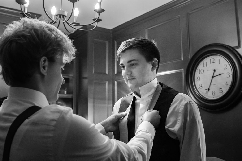 Getting Ready in the Groom's Suite at The Oaks at Salem Wedding in Apex, NC by Charlotte Wedding Photographers