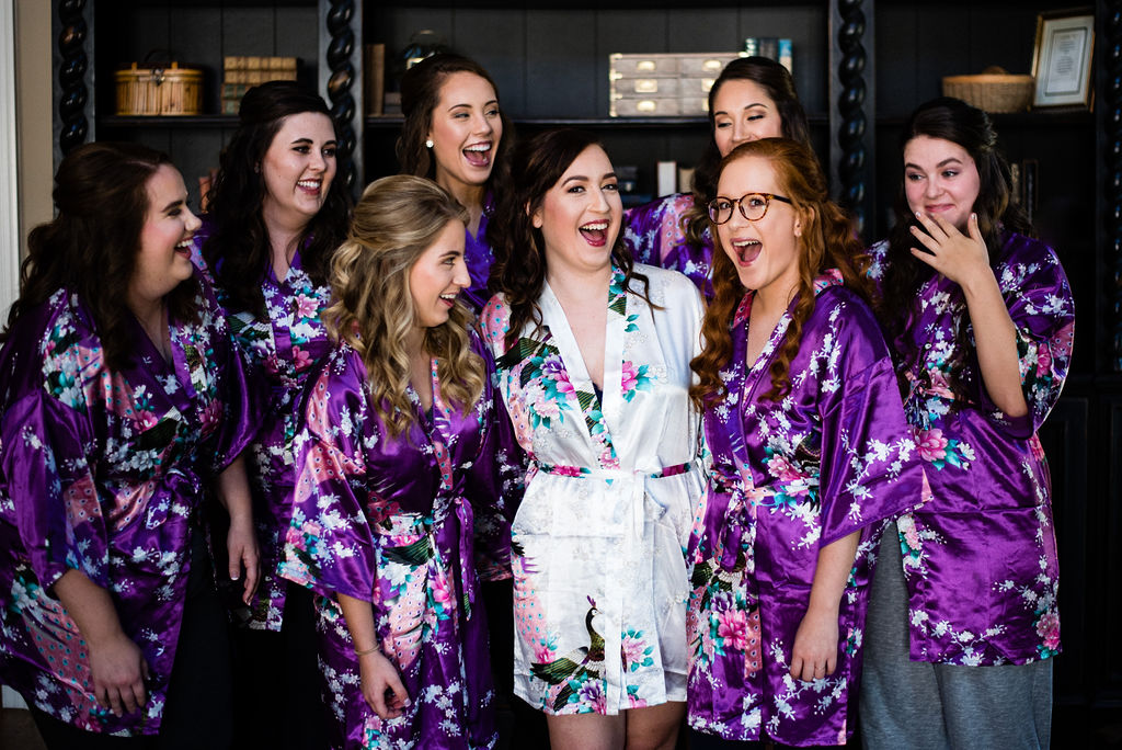 Bridesmaids at The Oaks at Salem Wedding in Apex, NC by Charlotte Wedding Photographers