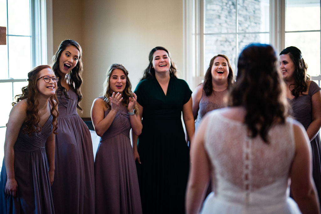 First Look with Bridesmaids at The Oaks at Salem Wedding in Apex, NC by Charlotte Wedding Photographers