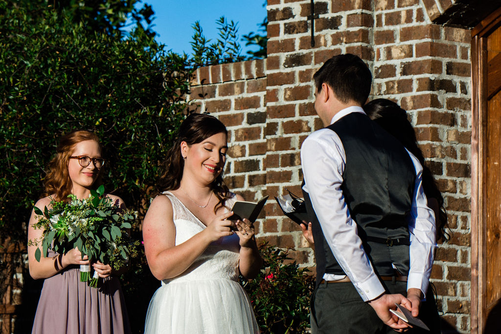 Vows at Wedding Ceremony at The Oaks at Salem Wedding in Apex, NC by Charlotte Wedding Photographers