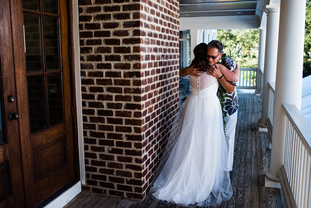 First Look with Father of the Bride at The Oaks at Salem Wedding in Apex, NC by Charlotte Wedding Photographers