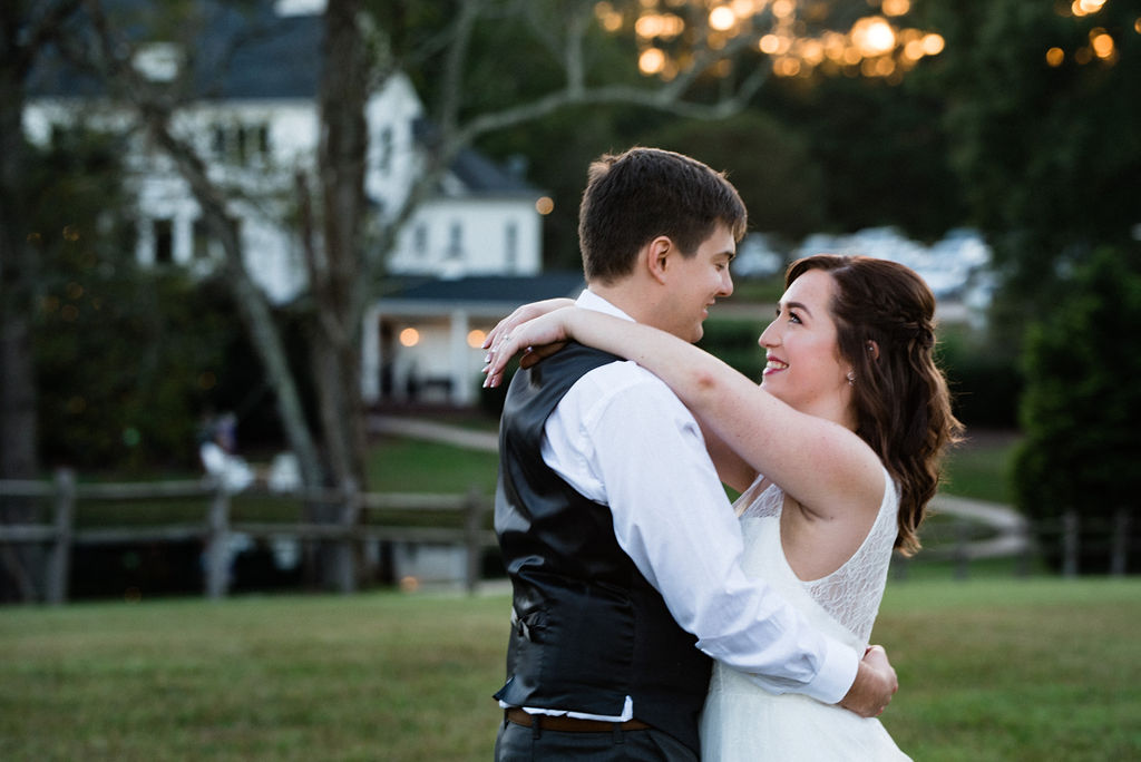 Bride and Groom Sunset Portraits at The Oaks at Salem Wedding in Apex, NC by Charlotte Wedding Photographers