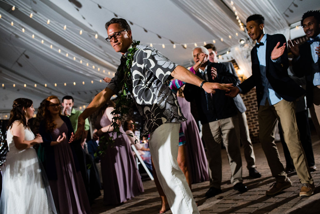 Dancing at Reception at Bride at The Oaks at Salem Wedding in Apex, NC by Charlotte Wedding Photographers