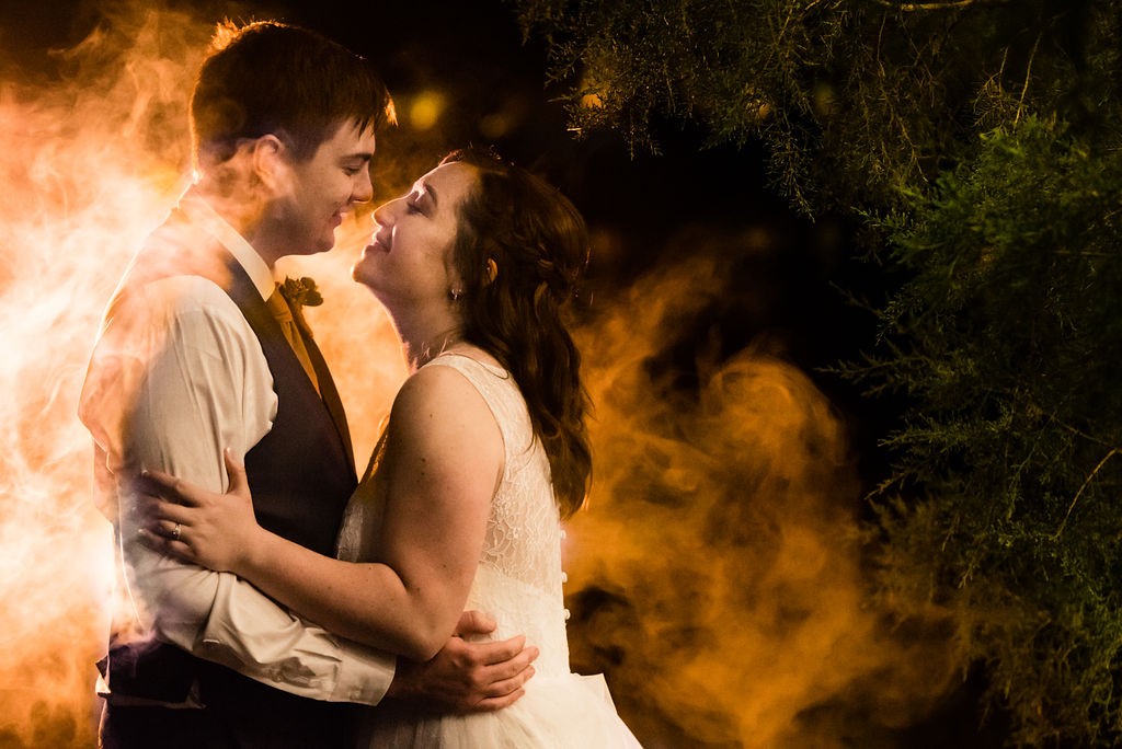 Bride and Groom Night Portrait at The Oaks at Salem Wedding in Apex, NC by Charlotte Wedding Photographers