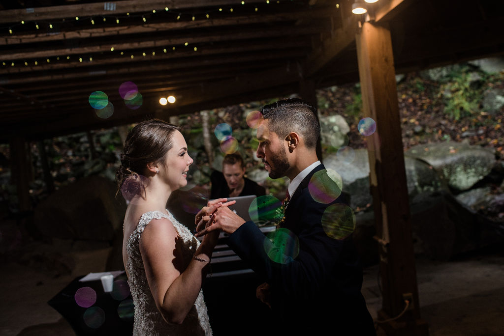Bride and Groom Dancing at Reception at Quarry at Carrigan Farms by Charlotte Wedding Photographers