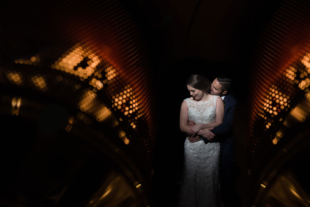 Bride and Groom Portrait Double Exposure at Quarry at Carrigan Farms by Charlotte Wedding Photographers