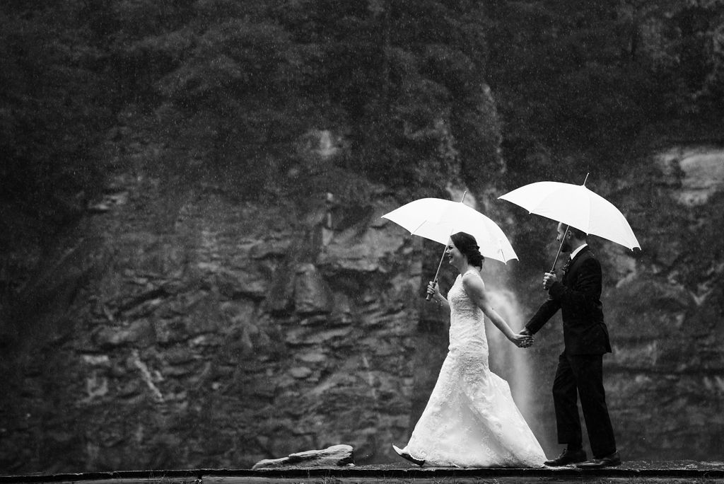 Rainy Day Bride and Groom Portrait at Quarry at Carrigan Farms by Charlotte Wedding Photographers