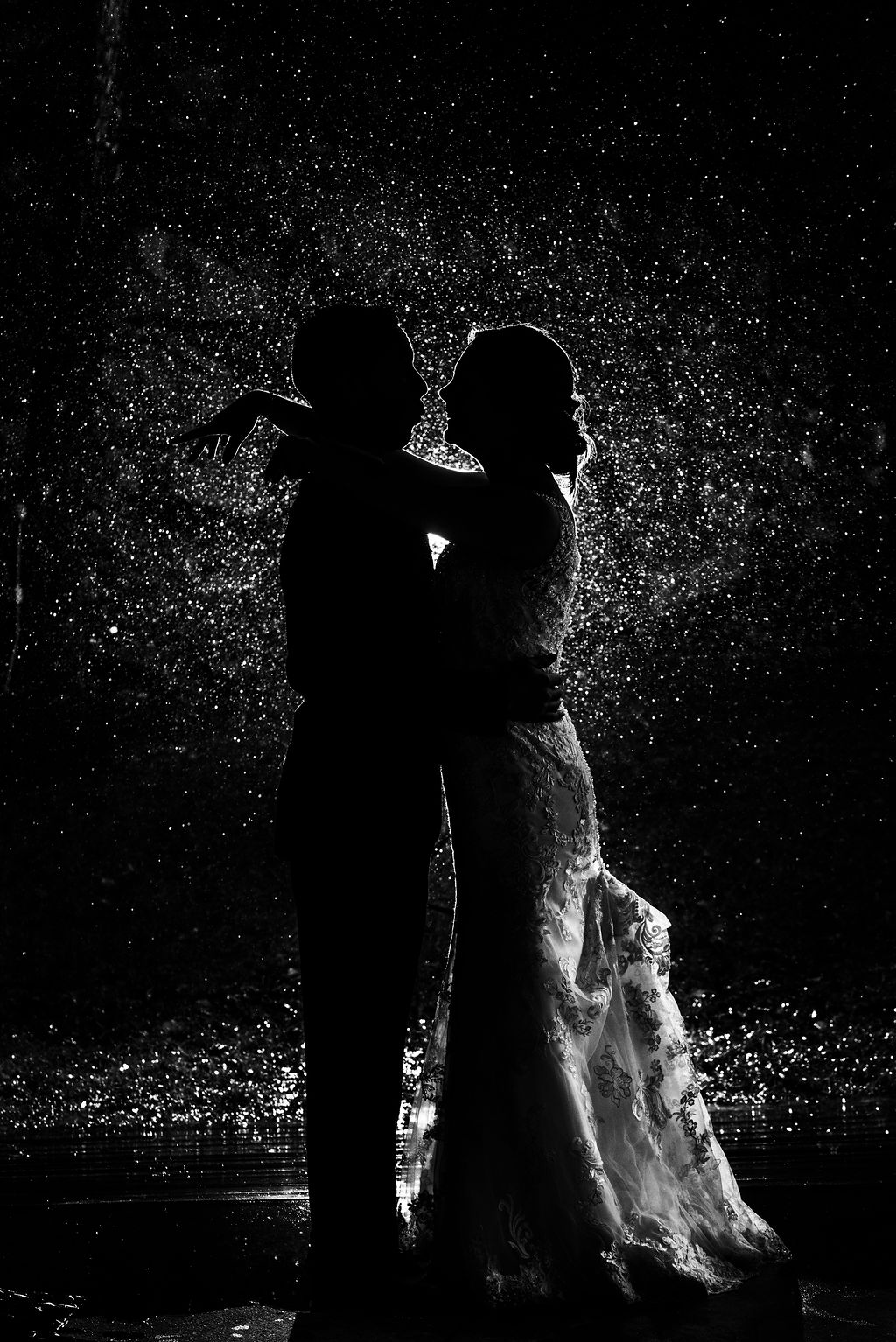 Rainy Day Bride and Groom Silhouette Portrait at Quarry at Carrigan Farms by Charlotte Wedding Photographers