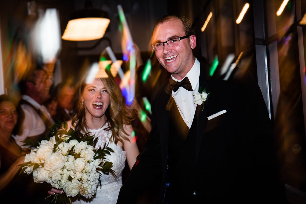 Glowstick exit at 8.2.0 Wedding by Charlotte Wedding Photographers