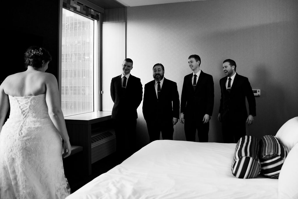 First Look with Friends at Aloft Charlotte by Charlotte Wedding Photographers