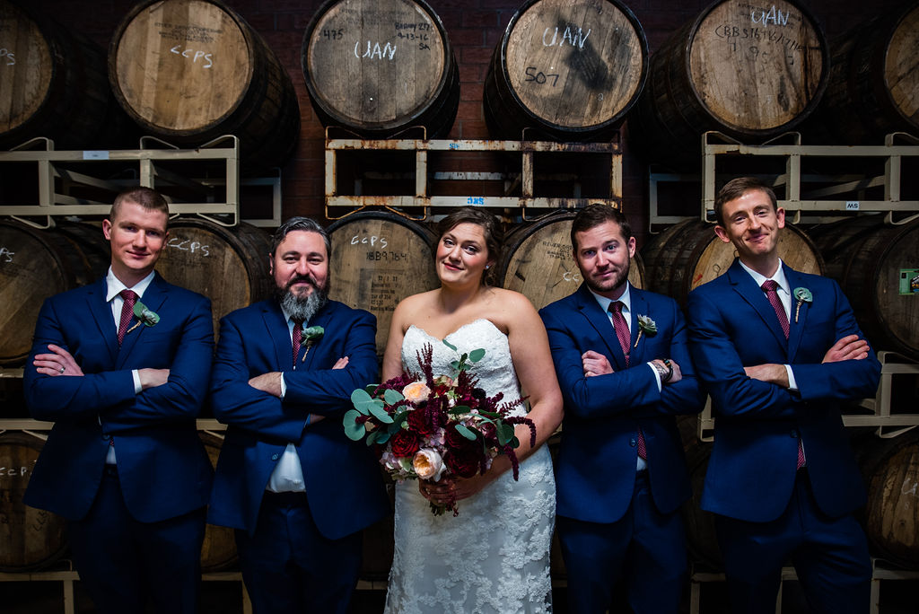 Bridal Party at Triple C Barrel Room by Charlotte Wedding Photographers