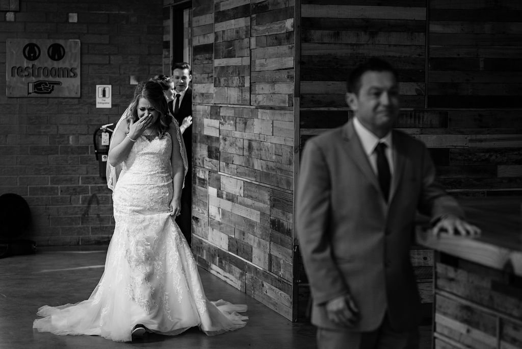 First Look with Father at Triple C Barrel Room by Charlotte Wedding Photographers