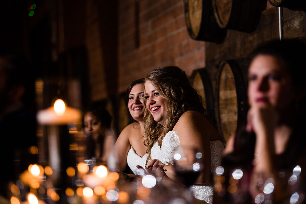 Toasts at Triple C Barrel Room by Charlotte Wedding Photographers